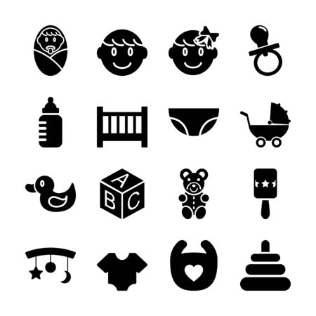 baby solid icons vector design