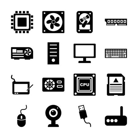 computer part solid icons vector design Vettoriali