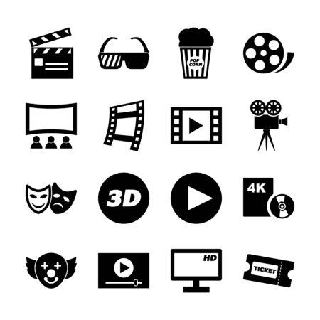 movie solid icons vector design Vektorové ilustrace