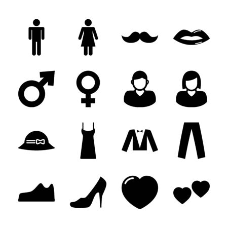man and woman solid icons vector design