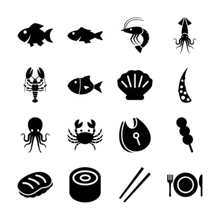 seafood solid icons vector design