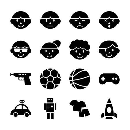 boy solid icons vector design