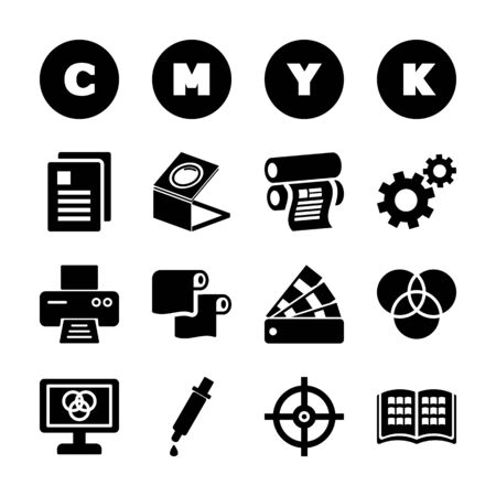 printing solid icons vector design