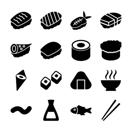 sushi solid icons vector design Ilustrace
