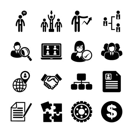 human resources solid icons vector design Ilustrace