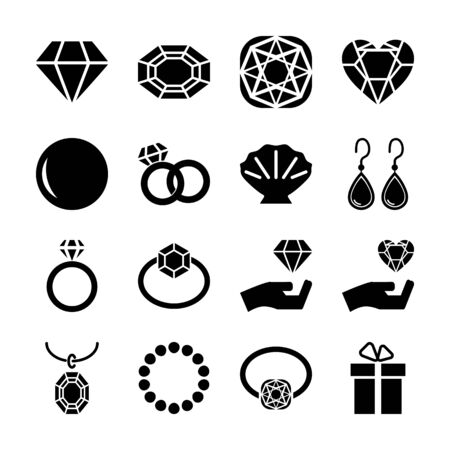 jewellery solid icons vector design