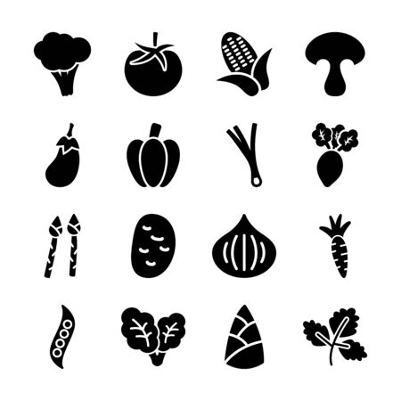vegetable solid icons vector design 일러스트