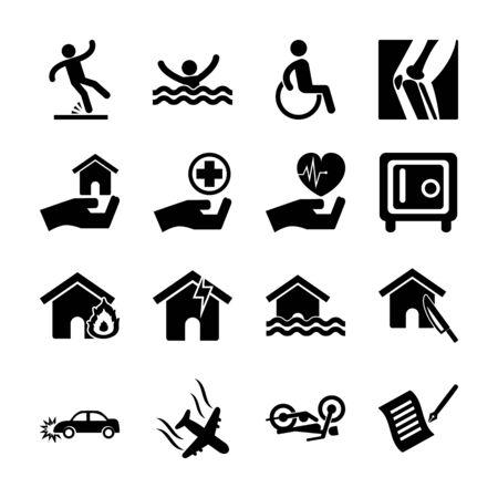seguro, iconos sólidos, vector, diseño