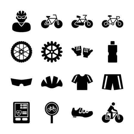 bicycle solid icons vector design Stock Illustratie