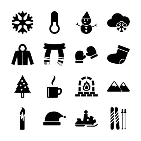 winter solid icons vector design