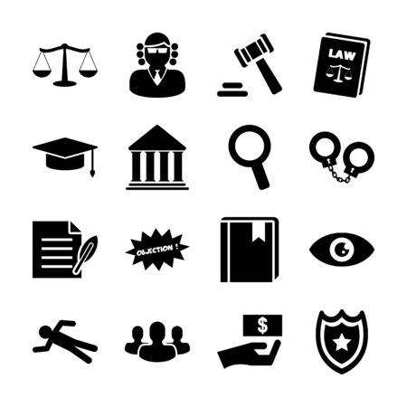 law solid icons vector design Ilustrace