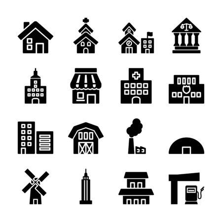 building solid icons vector design Archivio Fotografico - 130042219