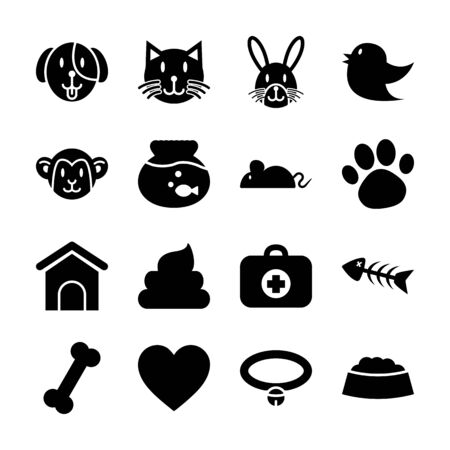 pet solid icons vector design