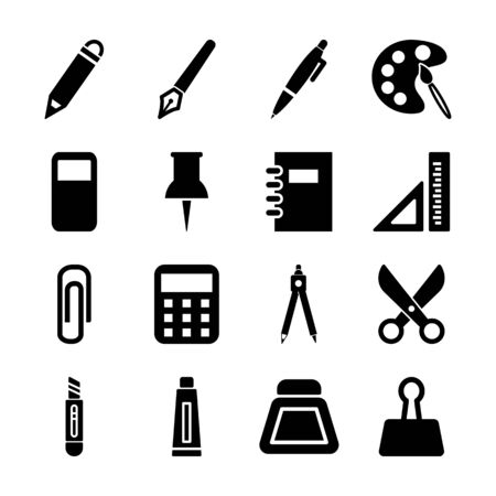 stationery solid icons vector design