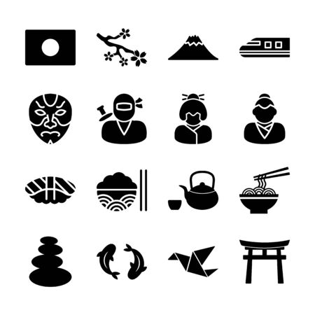 Japanese solid icons vector design