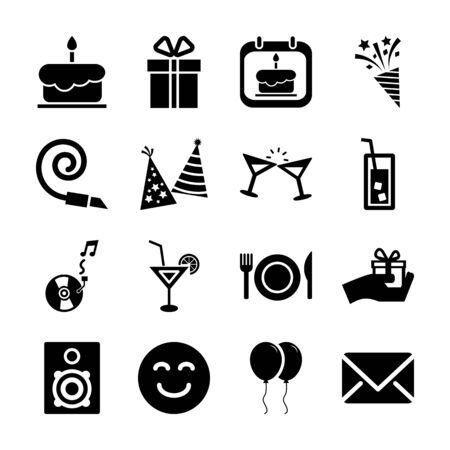 birthday solid icons vector design