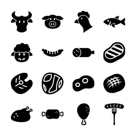 conception de vecteur d'icônes solides de viande Vecteurs