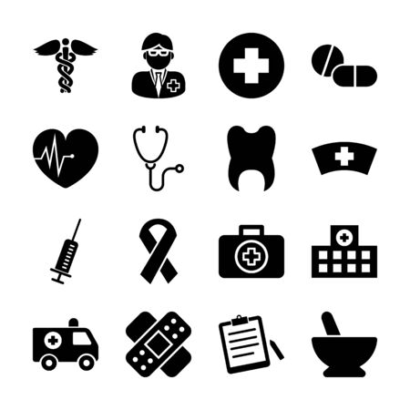 medical solid icons vector design