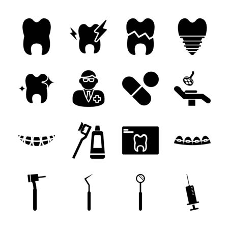 dental solid icons vector design Illustration