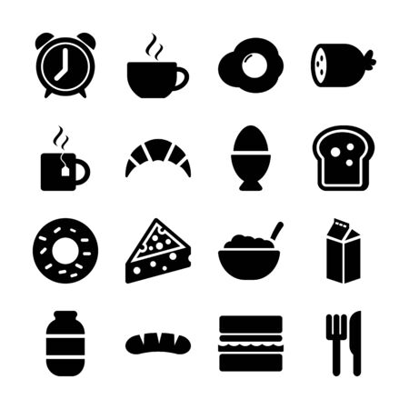breakfast solid icons vector design