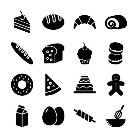 bakery solid icons vector design Иллюстрация