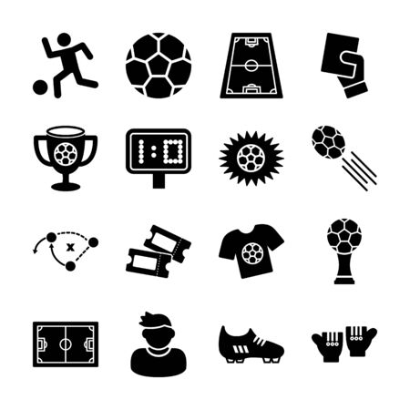 soccer solid icons vector design