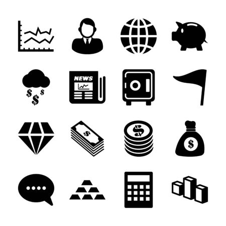 business solid icons vector design
