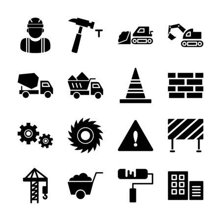 construcción, iconos sólidos, vector, diseño