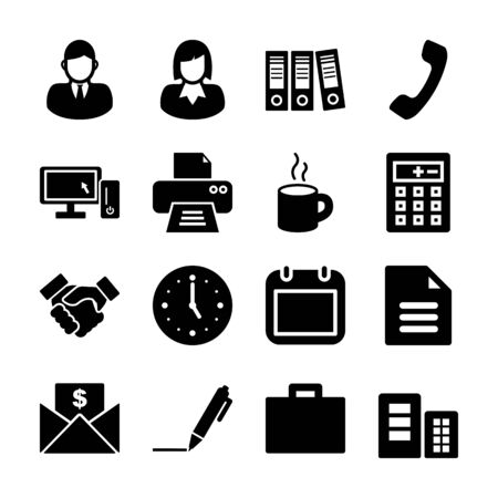 office solid icons vector design