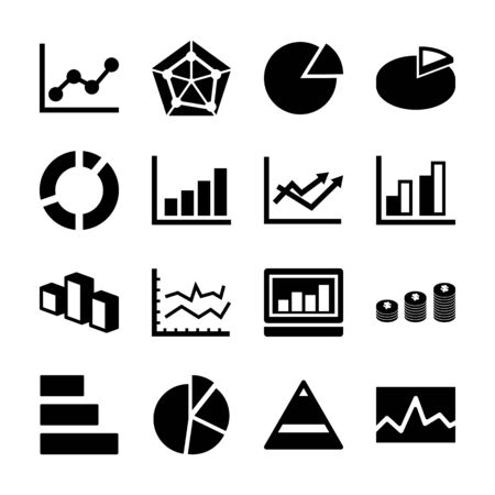 statistic solid icons vector design