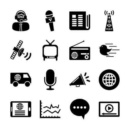 news solid icons vector design
