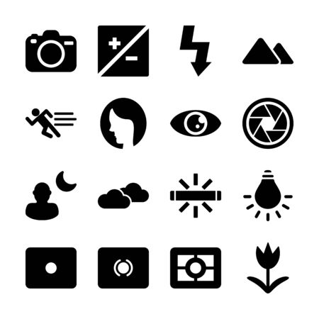 photography solid icons vector design