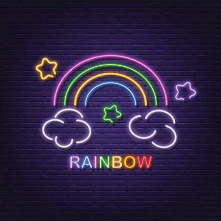 rainbow neon signboard vector design