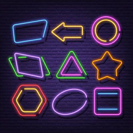 neon frame collection neon signboard vector design Stock fotó - 132615037