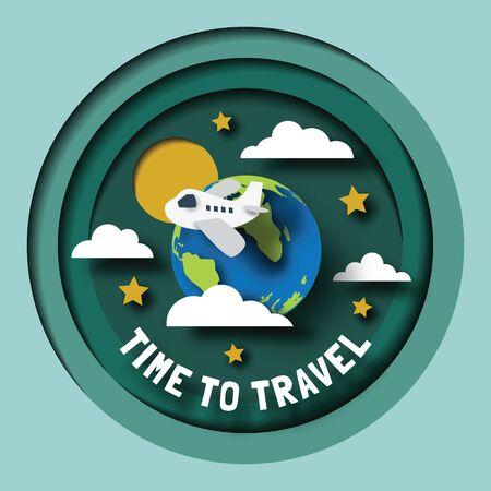travel planet paper cut design, vector digital craft