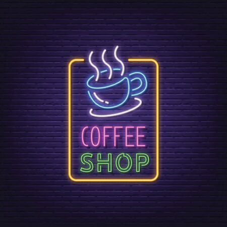 coffee shop neon signboard vector design Stock fotó - 133572394