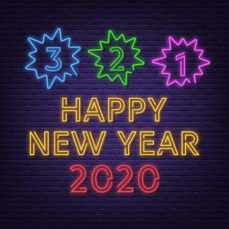 new year countdown neon signboard vector design