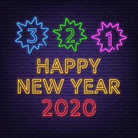 new year countdown neon signboard vector design