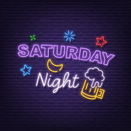 saturday night neon signboard day of the week vector design