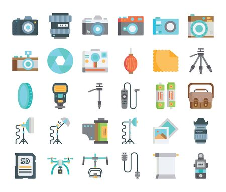 camera and equipment flat vector icons stylish design Vectores