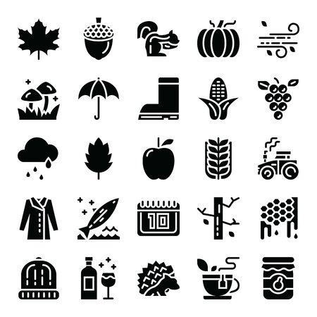 autumn glyph vector icons fall season stylish design Vector Illustration