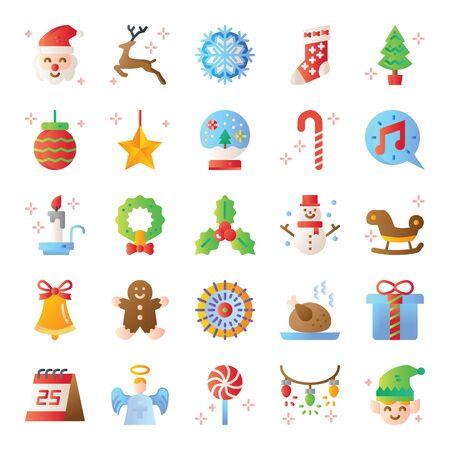 christmas gradient vector icons merry christmas season stylish design