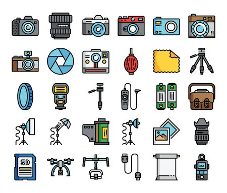 camera and equipment color outline vector icons stylish design Vectores