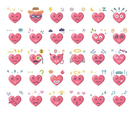 heart feeling flat vector icons love and passion