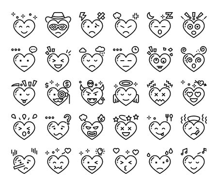 heart feeling outline vector icons love and passion