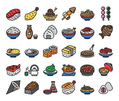 japanese food color outline vector icons