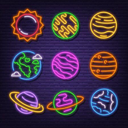 système solaire néon enseigne icônes vector design Vecteurs