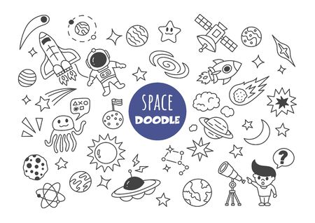 space   doodle vector hand drawing style