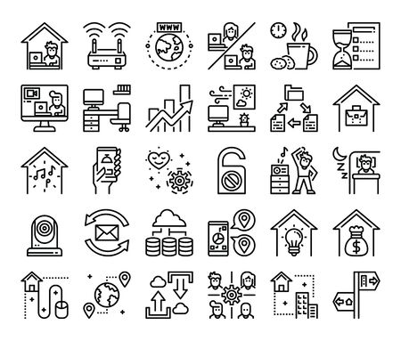 work from home outline vector icons work at home concept