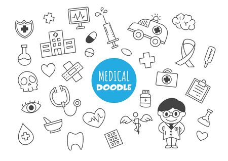 medical doodle vector hand drawing style Ilustracja